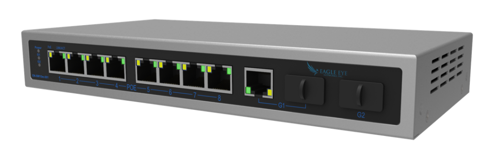Managed PoE 8 Port Switch for video camera surveillance systems